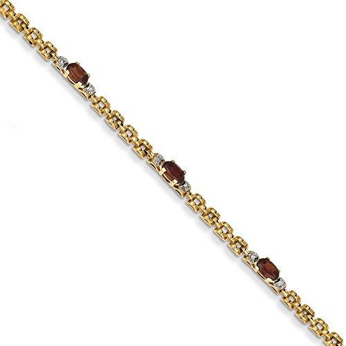 "Diamond 14 carats Grenat Bracelet 7 ""Motif JewelryWeb pince de homard"