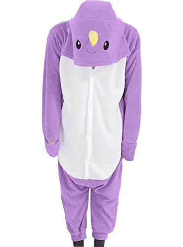 Narwhal Unicorn Costume (Foresightrade Adults and Children Animal Narwhal Multi-color Cosplay Costume Pajamas Onesies Sleepwear (S fit for Height 145-155CM (57