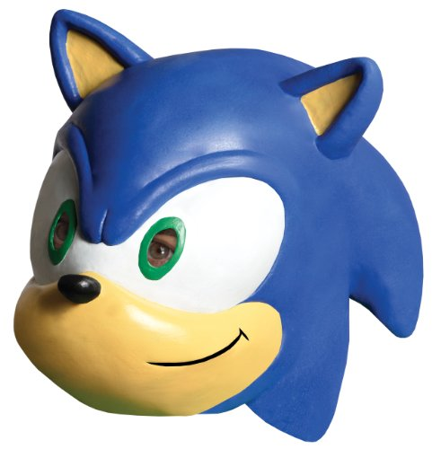 [Sonic The Hedgehog Sonic 3/4 Vinyl Mask] (Sonic Hedgehog Costume Rental)