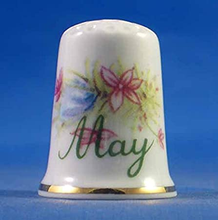 Birchcroft China Thimble Flower of  Month October with Free Dome Gift Box