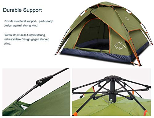 Toogh 2-3 Person Camping Tent 4 Season Backpacking Tent Automatic Instant Pop Up Tent for Outdoor Sports