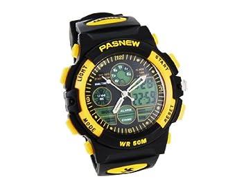 comprar PASNEW 048 Dual Movimiento plástico reloj digital (amarillo): Amazon.es: Deportes y aire libre