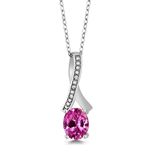 Gem Stone King 2.44 Ct Oval Pink Created Sapphire White Diamond 925 Sterling Silver Pendant ()