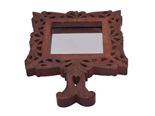 storeindya Hand Mirror Floral Mango Wooden Hand Crafted Decorative Gifts Ideas