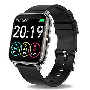 Compatible Koogeek Smart Watch for Men & Women with Blood Pressure Monitor Fitness Tracker. Blood Oxygen Meter Heart Rate Waterproof Smartwatch  Smart Tickers