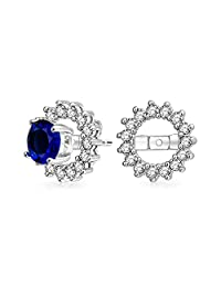 Cubic Zirconia CZ Round Pave Halo Earrings Jackets For Studs Jacket Only For Women 925 Sterling Silver Black Blue Clear