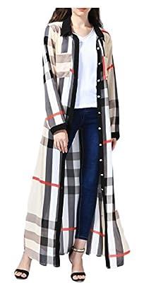 YY-qianqian Womens Muslim Robe Long Sleeve Button Down Plaid Shirt Maxi Dress