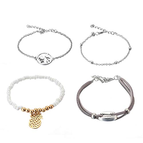 - Haluoo Fashion Bracelet 4 Pcs,Personalized Engraved World Map Coin Charm Bracelet Dainty Beads Tassel Bracelet Pearl Beads Bracelet with Pineapple Pendant Shell Leather Bracelet Adjustable (Silver)