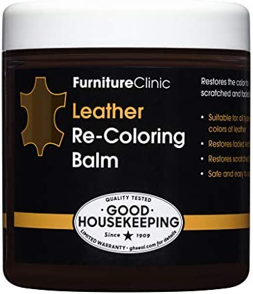 Furniture Clinic Leather Recoloring Balm (8.5 fl oz.) - Leather Color Restorer for Furniture, Repair Leather Color on Faded & Scratched Leather Couches - 16 Colors of Leather Repair Cream (Dark Brown)