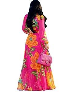 Dora's Womens Chiffon Floral Printed Maxi Dress Long Sleeves Bridal Dresses High Slim Waisted Belt Plus Size (Rose XXL)