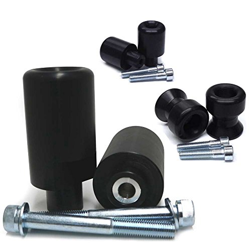 (2004-2005 Suzuki GSXR600, 2004-2005 Suzuki GSXR750 Black Complete No Cut Frame Slider Kit; Includes: No Cut Frame Sliders, Swing Arm Spools and Bar Ends - 755-5409 - MADE IN THE USA)