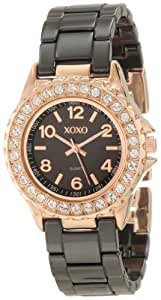 XOXO Women's XO2008 Swarovski Crystal Accented Rosegold-Tone Black Ceramic Bracelet Watch