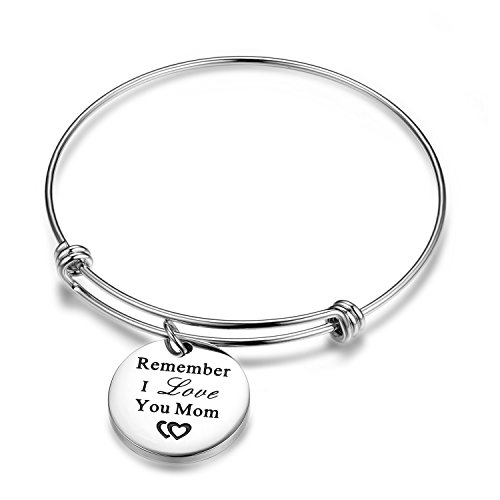 Silver Wire Charm bangle for- Women and Lady Stainless Steel Adjustable Remember i love you mom Charm Bangle Bracelet (Gifts Forwomen)