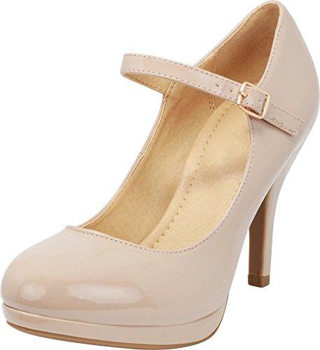 Cambridge Select Women's Mary Jane Dress Pump High Heel,7 B(M) US,Dark Beige Patent ()