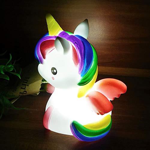 Rainbow Unicorn LED Night Light, Bedroom Desk Cartoon Animal Decoration Toy Lamp, Baby Nursery Bulb Lights for Birthday Party, Wedding Atmosphere, Decorative(White)