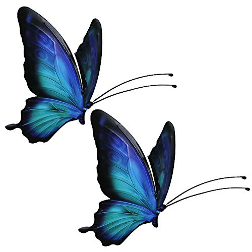 ChezMax Hand Painting Vintage Metal Butterfly Set of 2 Colorful Wall Sculptures Wall Metal Art Wall Decor Hanging for Home Garden Porch Patio 5.6 X 4 inches Jewelry Blue from ChezMax