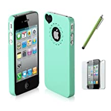 SODIAL(TM) Dexule Light Green Cute Girls Ultra-thin Ice Cream Glossy Hard Case Cover for iPhone 4 4S, Screen Protector, White Cute Stylus