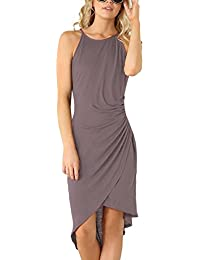 Women's Casual Spaghetti Strap Summer Dress Bodycon Midi Party Sleeveless Dresses