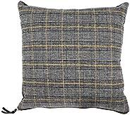 Creative Co-op Reversible Square Grey Plaid Wool Blend Mustard Accents & Solid Black Velvet Back Pil