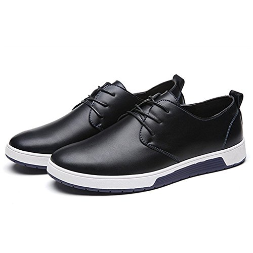 Zzhap Men's Casual Oxford Shoes Breathable Flat Fashion Sneakers 02Black US 12