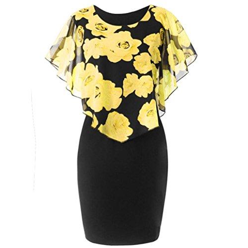 Ruffle Dress Neck Chiffon (E-Scenery Women's Casual Dress Plus Size Rose Print Chiffon O-Neck Ruffles Mini Dresses (Yellow, X-Large))