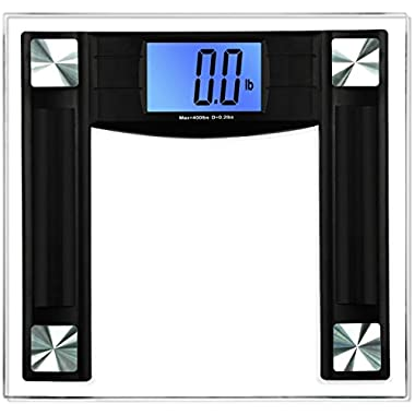 BalanceFrom High Accuracy Digital Bathroom Scale with 4.3  Large Backlight Display and Step-on Technology, Black