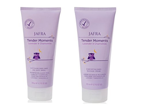 Jafra Tender Moments Hair & Body Wash & Baby Massage Cream 2 Piece Set (Lavender & Chamomile Scent) by Jafra