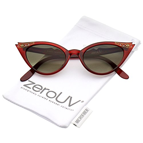 - zeroUV - 50s Vintage Cat Eye Sunglasses for Womens with Rhinestones Pinup Girl Clothing Rockabilly Accessories (Red)
