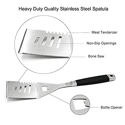 BBQ Grill Tools Set Barbecue Utensils Grilling Accessories 3 Piece Heavy Duty Stainless Steel Premium BBQ Tool kit for Spatula,Tongs,Fork Unique Birthday Gift for Dad