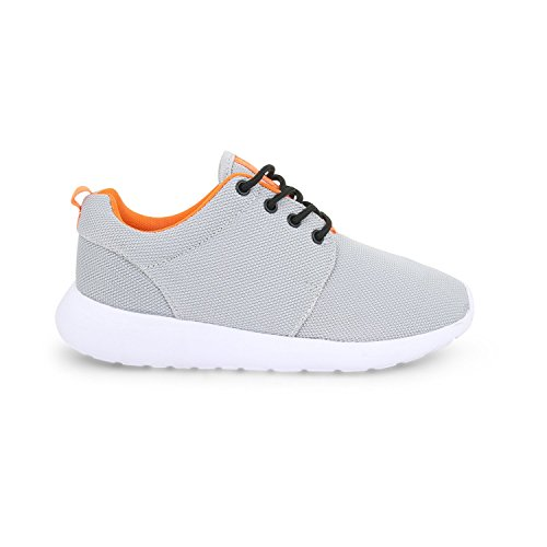 Womens Grey Orange Mesh Lace Casual Running Flat Shoes Ladies Size Pumps Up Light Sports Trainers rOawrHq