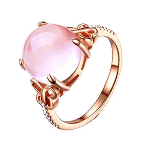 Silver Plated Tiffany Style Keychain - kolo FINE Women Ring, Hibiscus Stone Ring Pink Crystal Adjustable Morgan Stone Plated Diamond Orange Powder Unique Colored Zircon Size Adjustable Retro Crystal Stainless for Girl Lady (A)