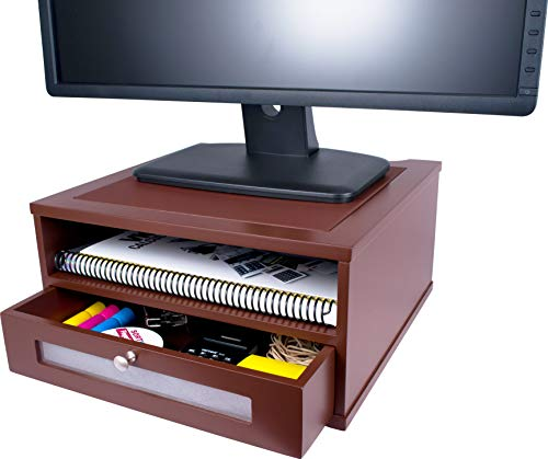 Victor Wood Monitor Riser, A1175 (Autumn Brown, Color is Lighter and redder Than Mocha Brown)