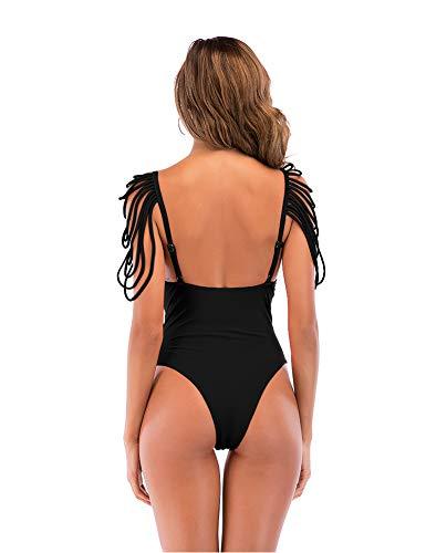 6d84eae0c450a Zaoqee Women's Tassel Swimsuit V Neck Monokini One Piece Bikini Sexy  Bathing Suit Swimwear