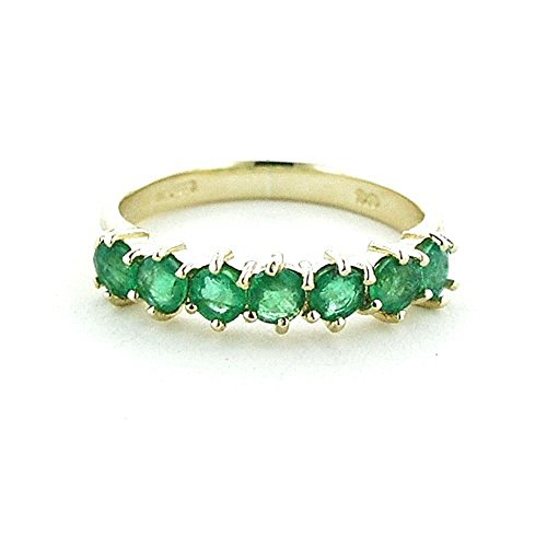 LetsBuyGold 14k Yellow Gold Real Genuine Emerald Womens Anniversary Ring - Size 8