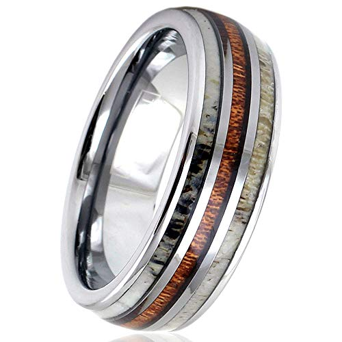 Personalized Engraved Silver 6mm/8mm Tungsten Dome Ring w/Koa Wood Between 2 Deer Antler Inlays. (Tungsten (8mm), 9)
