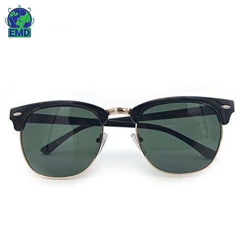 Lunettes de soleil Vintage Polarisées - Fashion - Homme - UV 400 - Verres Polycarbonate - Montures combiné Nylon Métal - Etui souple fourni 5M2Vx