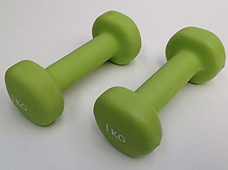Juego de mancuernas 2 x 1KG (verde color) neopreno cuerpo Fitness entrenamiento de fuerza 2 kg: Amazon.es: Deportes y aire libre