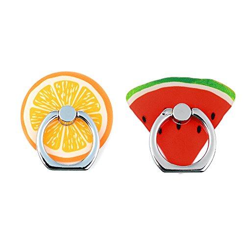 Mavis's Diary 2 Pcs Cute Fruit Universal 360 Degree Rotating Phone Metal Buckle Tablet Finger Grip Diamond Ring Stand Holder Kickstand for All Phones Tablets - Orange&Watermelon
