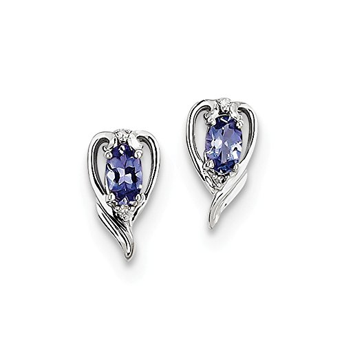 Sterling Silver Rhodium Plated Diamond & Tanzanite Post Earrings by Jewels By Lux