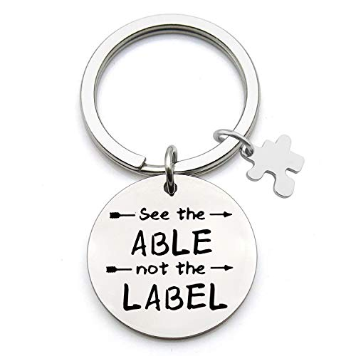 BEKECH Autism Awareness Keychain See The Able Not The Label Keychain with Puzzle Piece Charm Autism Speaks Autistic Support Autism Mom Gift Speech Language Pathologist Gift (Silver) -