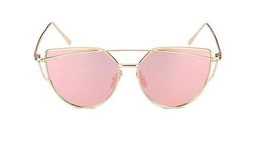 AKABELA Mujer Ojo de Gato UV400 Twin-Beams Metal Frame Lentes Planas Polarizadas Gafas de sol