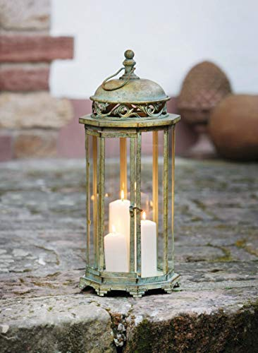 PierSurplus 24.4 in. Metal Moroccan Hanging Candle Lantern, Clear Glass Large Candle Lantern