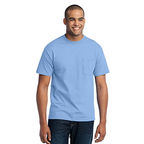 Port & Company Men's Tall 50/50 Cotton/Poly T Shirt with Pocket 3XLT Light (Big Rack Outfitters)