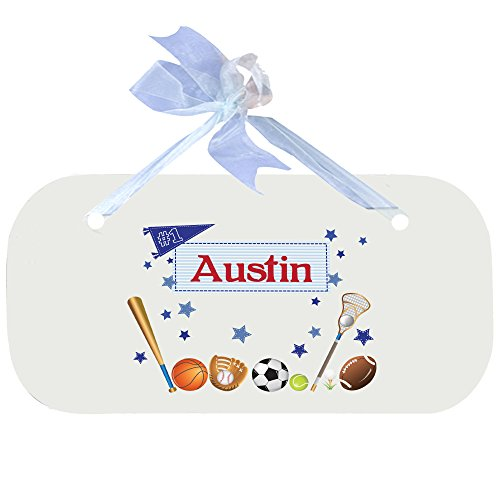 Personalized all sports Nursery Door Hanger Plaque with blue ribbon