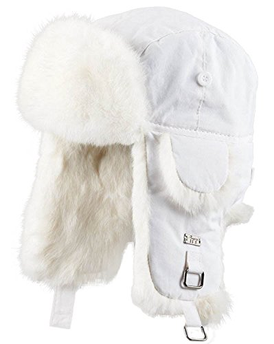 White B-52 Aviator Hat with White Rabbit Fur - L - Adult White Rabbit Hat