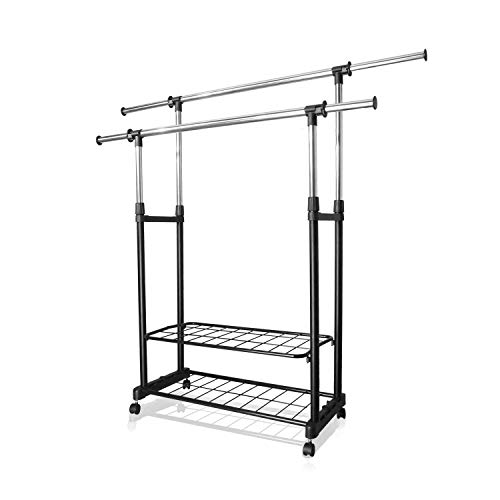PowCube Garment Rack,Adjustable Garment Rolling Collapsible Clothing Rack,Double Rods,2 Shelves,with 4 Wheels,Black ()