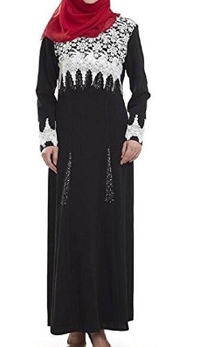 Palangaro Musulmani Abaya Forma Tacchino In Vestito Nero Comodi Femminile Girocollo Sottile 66Yrqw