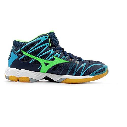 Mizuno Men's Wave Tornado X2 Mid Volleyball Shoes, Bleu Turquoise/Vert Gecko/Bleu Marine Blue (Dressblues/Greengecko/Peacockblue 36)