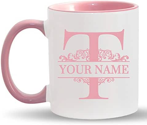 T - Custom Monogram Coffee Mugs - ADD YOUR NAME - Personalized Ceramic Cups - 11oz