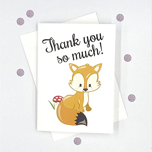 12 pk Woodlands Thank you Cards, Fox, Squirrel, Hedgehog & Skunk Baby Shower Cards (Baby-431-Fox)